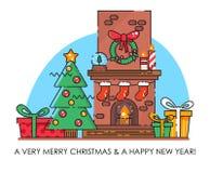 De vrolijke kaart van de Kerstmisgroet met schoorsteen De gelukkige wensen van het Nieuwjaar Affiche in vlakke lijn moderne stijl Stock Foto