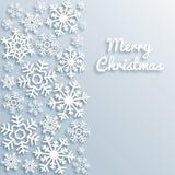 De vrolijke kaart van de Kerstmisgroet met witte sneeuwvlokken Document van stijlkerstmis vectormalplaatje als achtergrond Elegan royalty-vrije illustratie