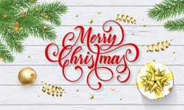 De vrolijke kaart van de Kerstmisgroet van Nieuwjaargift en gouden decoratiebal op witte houten achtergrond Vectorontwerpmalplaat Stock Afbeeldingen