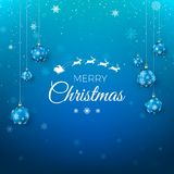De vrolijke kaart van de Kerstmisgroet Santa Claus-vlieg in hemel en groettekst Blauwe die achtergrond met sneeuwvlokken door Ker royalty-vrije illustratie