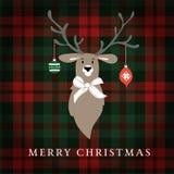 De vrolijke kaart van de Kerstmisgroet, uitnodiging Rendier met Kerstmissnuisterijen en lint Geruit Schots wollen stof geruite pl stock illustratie