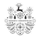 De vrolijke kaart van de Kerstmisgroet, zwart-wit beeld stock afbeeldingen
