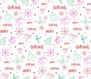 De vrolijke Kaart van Kerstmisgroeten in Decorpatronen Stock Foto's