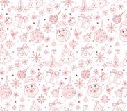 De vrolijke Kaart van Kerstmisgroeten in Decorpatronen Royalty-vrije Stock Afbeeldingen