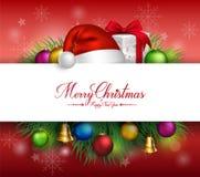 De vrolijke Kaart van Kerstmisgroeten in Witte Ruimte Royalty-vrije Stock Foto's