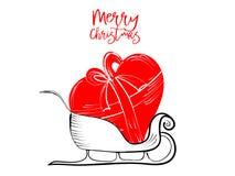 De vrolijke kaarten van Kerstmisgroeten overhandigen getrokken met zwarte en rode inktpennen voor het houden van van vakantie Stock Afbeelding