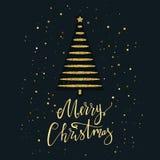 De vrolijke Kerstkaart met goud schittert Kerstboom en sneeuwvlok Het moderne van letters voorzien Nieuwe jaaruitnodiging Gebruik Royalty-vrije Stock Afbeeldingen