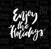 De vrolijke Kerstkaart met kalligrafie geniet van de Vakantie op naad stock foto's