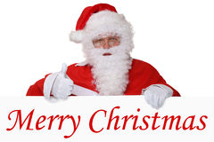 De vrolijke Kerstkaart met Santa Claus-het tonen beduimelt omhoog Royalty-vrije Stock Fotografie