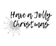 De vrolijke Kerstkaart met zonnestraal en de kalligrafie hebben heel a vector illustratie