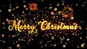 De vrolijke Kerstmis Abstracte deeltjes en schitteren de kaarttekst van de vuurwerkgroet royalty-vrije illustratie