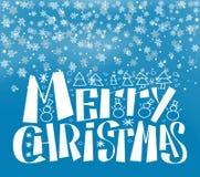 De vrolijke Kerstmis het Van letters voorzien Achtergrond van de Wintertijdsneeuw royalty-vrije illustratie