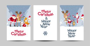 De vrolijke Kerstmis vector het van letters voorzien reeks van het ontwerpmalplaatje Royalty-vrije Stock Foto's