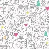De vrolijke Kerstmis verpakkend document pictogrammen van het patroonoverzicht Royalty-vrije Stock Afbeelding