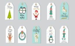 De vrolijke Kerstmisgiften etiketteert hand het van letters voorzien reeks voor de winter holid Royalty-vrije Stock Foto's