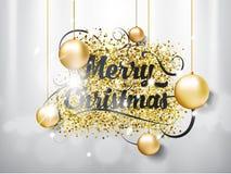 De vrolijke Kerstmishand trekt van letters voorziende teksten met speelgoedbellen op zilveren achtergrond en lichteffect Eps illu Stock Foto