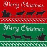 De vrolijke Kerstmisprentbriefkaar met Kerstman en deers silhouetteren rode groene Achtergrond Royalty-vrije Stock Foto's