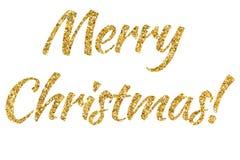 De vrolijke Kerstmistekst van schittert poeder Glanzende gouden tekst Helder schitter glanzen Geel poeder Stock Afbeelding