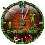 De vrolijke Klok van Grunge van Kerstmis Stock Afbeelding