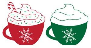 De vrolijke Koffie van de Kerstmispepermunt Stock Foto