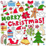 De vrolijke Krabbels van het Notitieboekje van Kerstmis Stock Fotografie