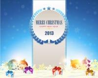 De vrolijke Kroon van Kerstmis en de Gelukkige Bellen van het Nieuwjaar Vector Illustratie