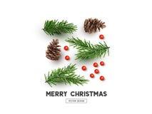 De vrolijke Lay-out van het Kerstmis Natuurlijke Ontwerp stock illustratie