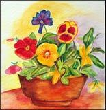 De vrolijke Lente! Waterverf Stock Foto's
