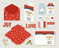 De vrolijke leuke kaart van de Kerstmis vastgestelde voor het drukken geschikte groet Stock Foto