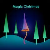 De vrolijke magische kaart van Kerstmis Stock Fotografie