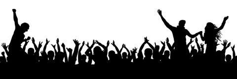 De vrolijke menigte van de ventilatorspartij Het toejuichen overhandigt op applaus Menigte van mensensilhouet Stock Foto