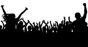 De vrolijke mensen overbevolken, silhouetteren Partij, applaus Het overleg van de ventilatorsdans, disco stock illustratie