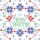 De vrolijke Noordse winter van de Kerstmis Skandinavische stijl stich, breiend naadloos patroon vector illustratie