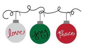 De vrolijke Ornamenten van de Vakantie van Kerstmis Gelukkige Stock Foto's