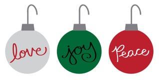 De vrolijke Ornamenten van de Vakantie van Kerstmis Gelukkige Royalty-vrije Stock Afbeelding