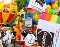 De vrolijke Parade van de Trots om vrolijke rechten te steunen Stock Foto
