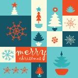 De vrolijke prentbriefkaar van de Kerstmisboom Stock Foto's