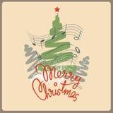 De vrolijke prentbriefkaar van het Kerstmislied Royalty-vrije Stock Fotografie