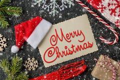 De vrolijke prentbriefkaar van Kerstmisgroeten De samenstelling van de de wintervakantie royalty-vrije stock fotografie