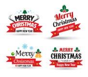 De vrolijke reeks van het de Kaartelement van de Kerstmisgroet Royalty-vrije Stock Foto