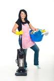 De vrolijke schoonmakende producten van de vrouwenholding Royalty-vrije Stock Foto's
