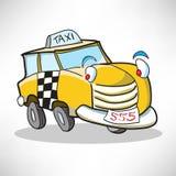 De vrolijke taxi van de beeldverhaalauto Stock Foto