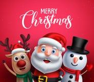 De vrolijke tekst van de Kerstmisgroet met de vectorkarakters van de Kerstman, van het rendier en van de sneeuwman stock illustratie