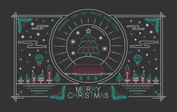 De vrolijke van de affichekerstmis van het Kerstmisoverzicht stad van de de boomsneeuw Stock Foto