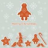 De vrolijke van de het speelgoed uitstekende prentbriefkaar van Kerstmiskerstmis retro stijl Stock Foto