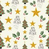 De vrolijke van het de boom naadloze patroon van Kerstmispictogrammen achtergrond EPS10 fil Stock Foto