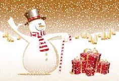 De vrolijke van het Kerstmis gelukkige nieuwe jaar van de Kerstmissneeuwman kaart c Stock Afbeelding
