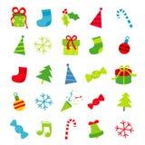 De vrolijke Vector van het de Decoratiebeeldverhaal van de Kerstmisgift Stock Afbeeldingen