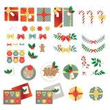 De vrolijke vector van Kerstmis grafische elementen royalty-vrije stock afbeelding