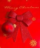 De vrolijke Vertoning van Kerstmis in Rood en Gouden Stock Foto